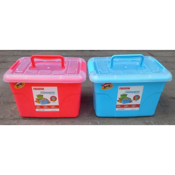 Favourite Container Box Plastik Kotak Warna Tutup Transparan Dengan Handle Maspion