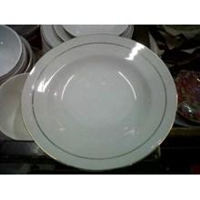 Piring Batu Porselen Lingkaran Lis Emas Golden White Line Winston Murah Surabaya