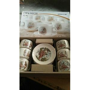 Cup and Saucer Cangkir dan Lepek Dinner Tea Set Keramik
