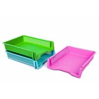 Jual Rak Keranjang Bak Surat Susun Meja A4 Letter Tray Plastik 2