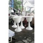 Vas Pot Bunga Plastik Coklat Putih Tulip Piala Dekorasi Vintage Shabby 3