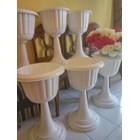 Vas Pot Bunga Plastik Coklat Putih Tulip Piala Dekorasi Vintage Shabby 4