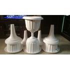 Vas Pot Bunga Plastik Coklat Putih Tulip Piala Dekorasi Vintage Shabby 2