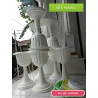 Jual Vas Pot Bunga Plastik Coklat Putih Tulip Piala Dekorasi Vintage Shabby