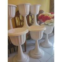 Beli Vas Pot Bunga Plastik Coklat Putih Tulip Piala Dekorasi Vintage Shabby 4