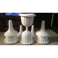 Jual Vas Pot Bunga Plastik Coklat Putih Tulip Piala Dekorasi Vintage Shabby 2