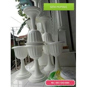 Vas Pot Bunga Plastik Coklat Putih Tulip Piala Dekorasi Vintage Shabby