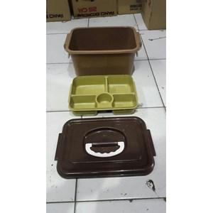 Toples Lunch Box Kotak Makan Sekat Samir Tutup Gagang Plastik
