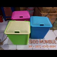Keranjang Pakaian Laundry Basket Plastik Rotan 1