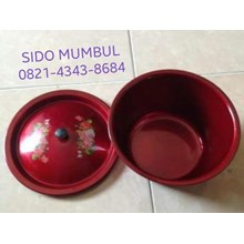 Red Enamel Bowl with Lid