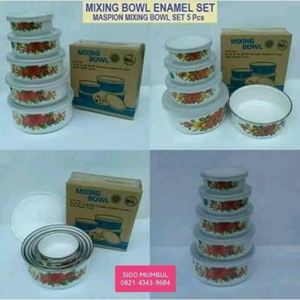 Mangkok Mixing Bowl Enamel Set 5 Pcs Panda Maspion