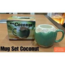 Mug Cangkir Coconut Kelapa Degan Keramik Tutup