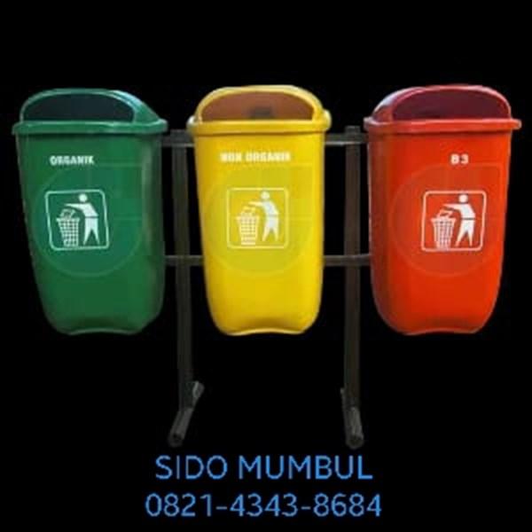 Tong Tempat Sampah Single Double Triple Gantung Tanam Fiber Glass 50 Liter