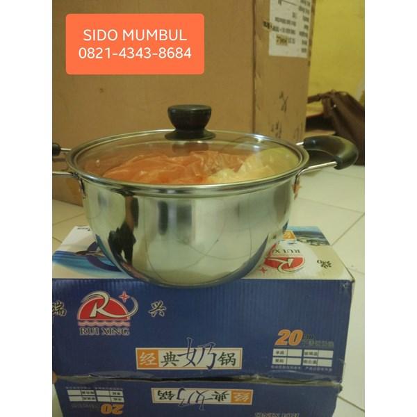 Panci Susu Milk Pan Sauce Pot Stainless Steel Tutup Kaca