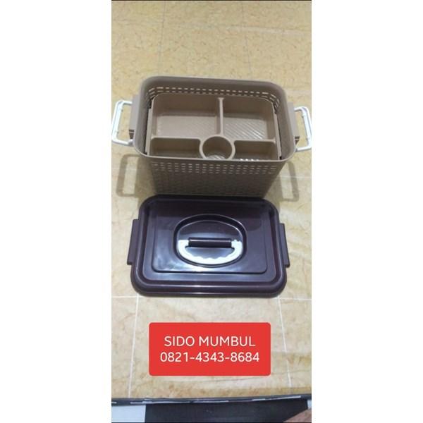Keranjang Makanan Lunch Box Tutup Samir Sekat Cappucino