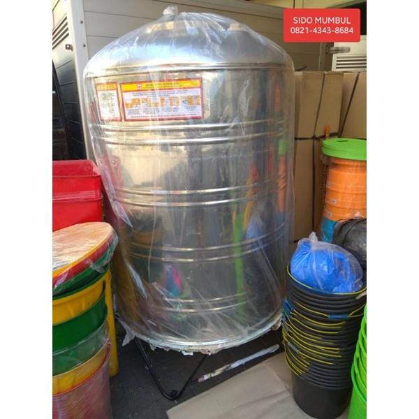Tandon Tangki Air Tabung Stainless Steel dengan Kaki Maspion