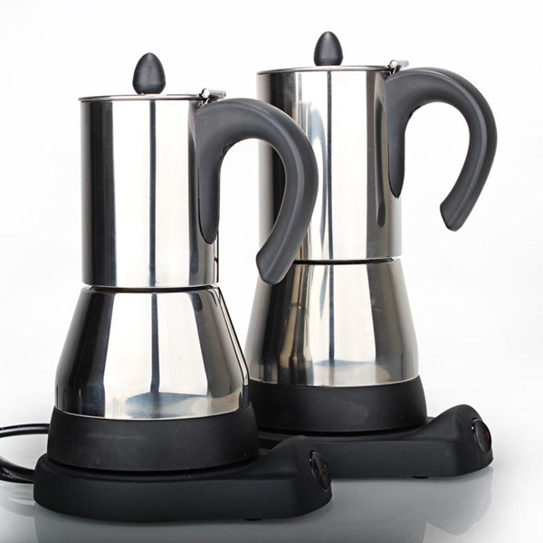 Pembuat Kopi Moka Pot Elektrik 8 Cups Stainless