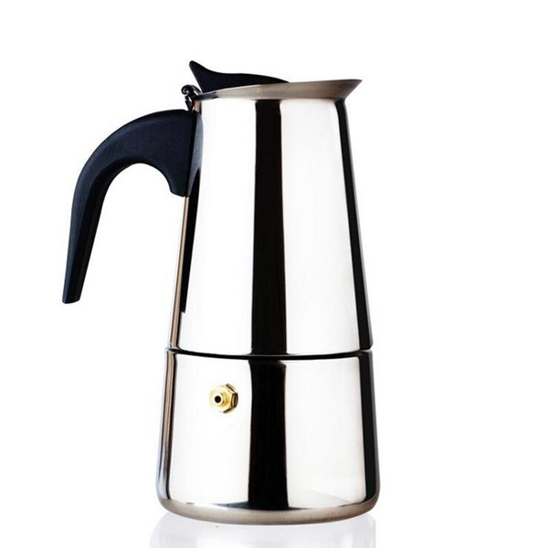 Pembuat Kopi Moka Pot 4 Cups Full Stainless