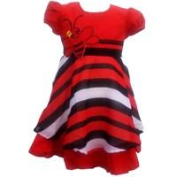 Jual Dress Katun Salur Bordir Lebah Merah-5