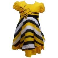 Jual Dress Katun Salur Bordir Lebah Kuning-3