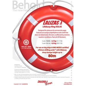 Dari LALIZAS Lifebuoy Ring 4 Kg SOLAS with Reflective Tape CE Approved to SOLAS (LSA Code) by DNV - GL 1