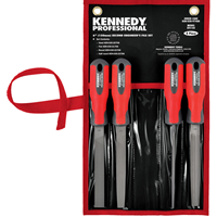 Kikir Kennedy-Pro.150mm (6'') 4 Piece Second Cut Engineers File Set with Handles 1