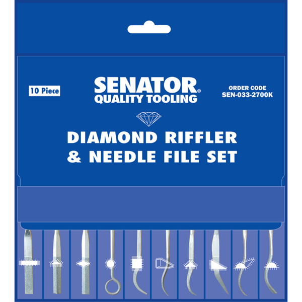 "Kikir Senator.140mm (5.1/2"" ) 10 Piece Diamond Riffler & Needle File Set"
