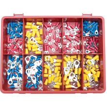 Kennedy.TERMINALS/RINGS/FORKS RED /BLUE/YELLOW KIT 240-PCE