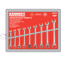 Kennedy-Pro.10-19mm RATCHET COMBINATION SPANNER SET 9PC