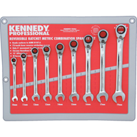 Kennedy-Pro.REVERSIBLE COMBINATION SPANNER SET 9PC