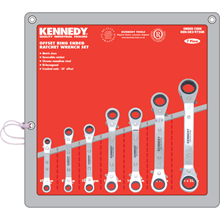 Kennedy.7PC 6-22mm OFFSET RATCHET RING SPANNER SET