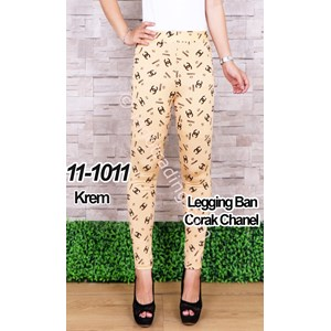 Legging Ban Corak Channel Krem