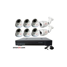 PAKET CCTV 8 CHANNEL AHD OFFICE 1080P MURAH 6 INDOOR 2 OUTDOOR