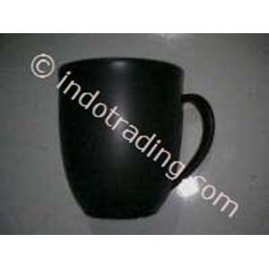 Mug Keramik Oval Hitam