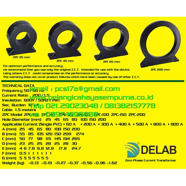 Delab ZCT Zero Phase Current Transformer TM18c TM8000s Alat Ukur Kuat Arus ZCT