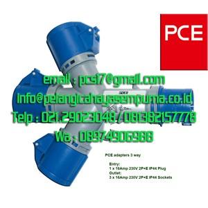 3 way multiple 16A Adaptor Socket  Kabel PCE