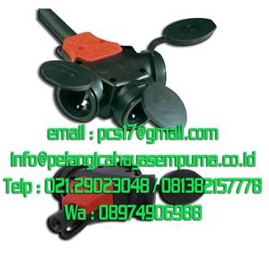Rubber Connector 3 Way Socket Plug Stop Kontak Karet IP44