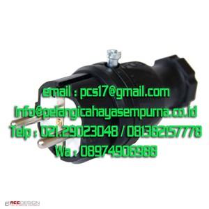 Plug Rubber 16A 250V IP44 Black Steker Listrik