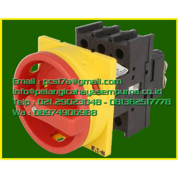 P1-25/EA/SVB/N/HI11 3 pole + N + 1 N/O + 1 N/C 25A Emergency-Stop function Lockable in the 0 (Off) position flush mounting