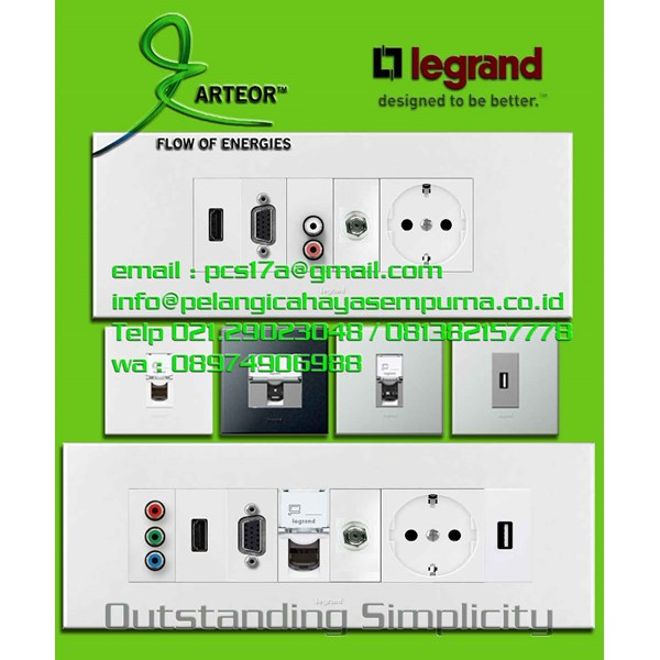 Multimedia Panel Wall Plate Legrand HDMI VGA Audio Video Telephone Network Hubs and Switch Audio Visual