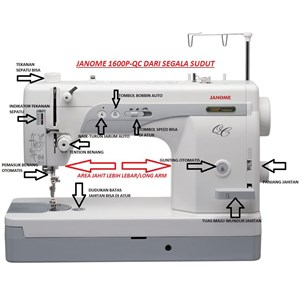 Dari Mesin Jahit High Speed portable Janome 1600p-QC Long Arm quilting 4