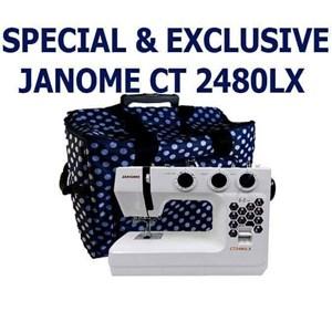 Janome ct2480lx Mesin jahit Portable kelas heavy duty - Putih Biru Dongker