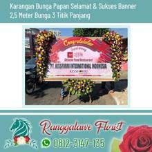 Bunga Papan Selamat dan Sukses Banner 2.5 Meter 3 Titik Bunga Panjang Surabaya