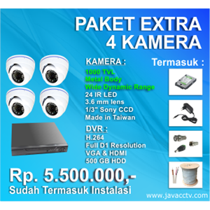 Promo Paket Cctv 4 Channel Xtra High Resolution ( 1000 Tvl)