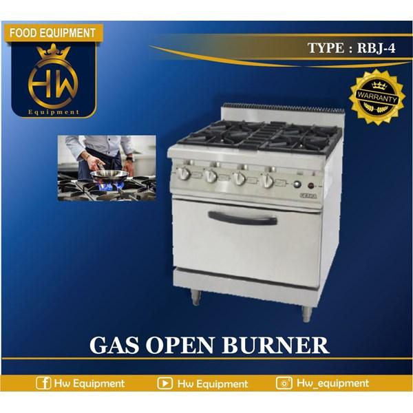 Kompor Gas Open Burner tipe RBJ-4 (4 Burner gas range + Oven)
