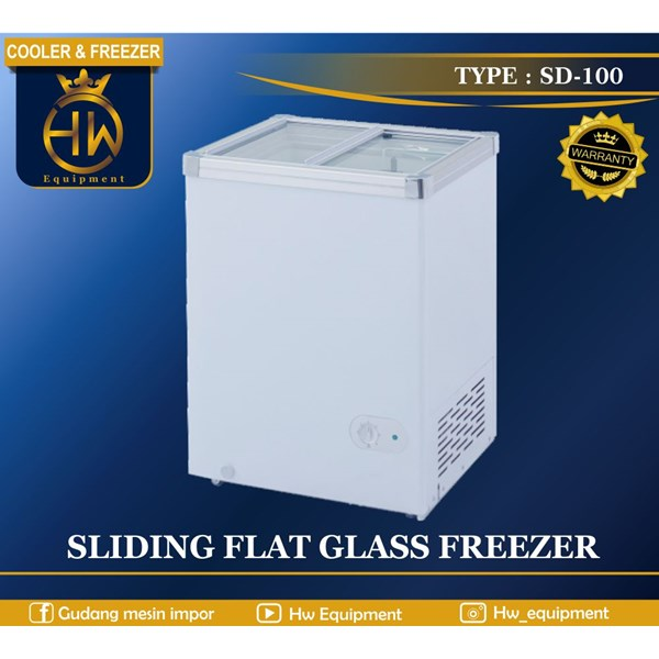 Chest Freezer Sliding Flat Glass tipe SD-100