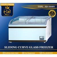 Mesin Pendingin Freezer Sliding Curve Glass tipe SD-500BY