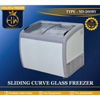 Mesin Pendingin Freezer Sliding Curve Glass tipe SD-260BY