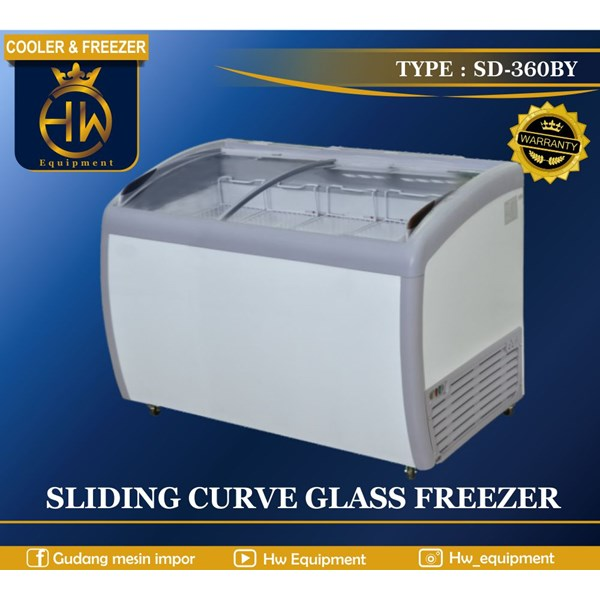 Mesin Pendingin Freezer Sliding Curve Glass tipeSD-360BY