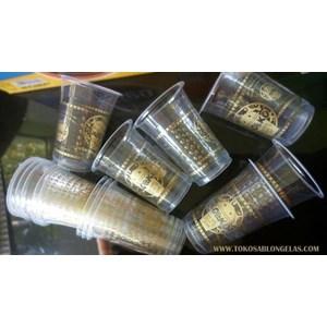 Sablon Gelas Plastik Melingkar Warna Gold
